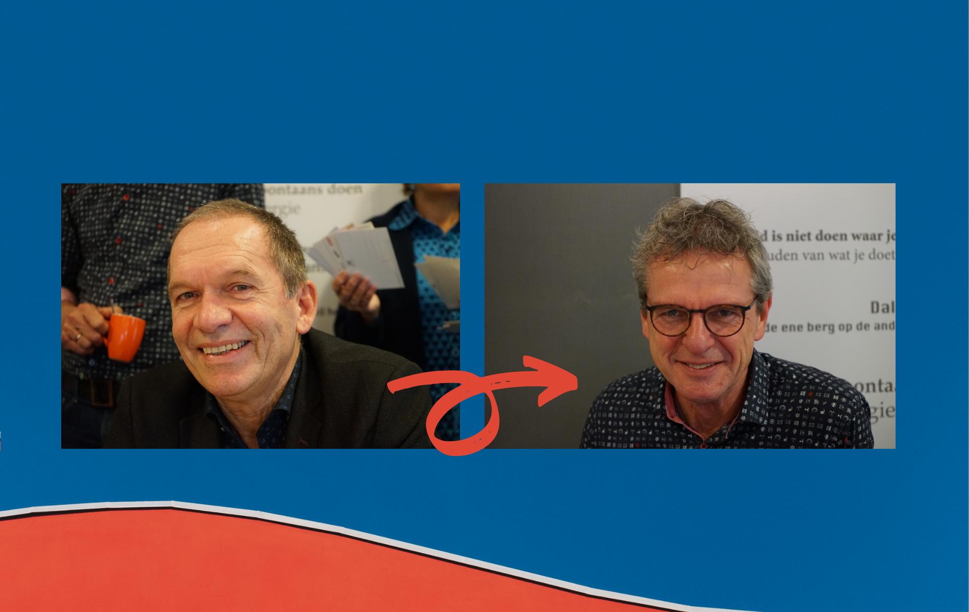 plaatje van Koos Pluymert geeft het stokje over aan Wim Bos